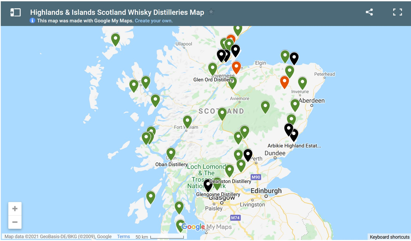 screen capture of Highlands and Islands Scotland Whisky Distillery Interactive Google Map