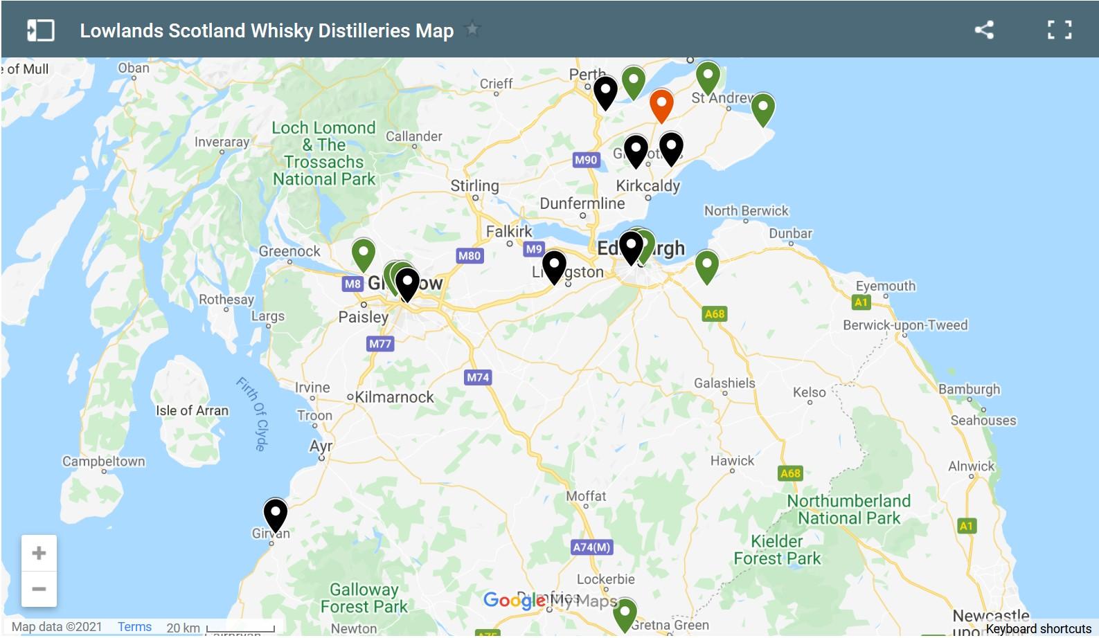 screen shot of interactive google map of lowlands whisky distilleries scotland