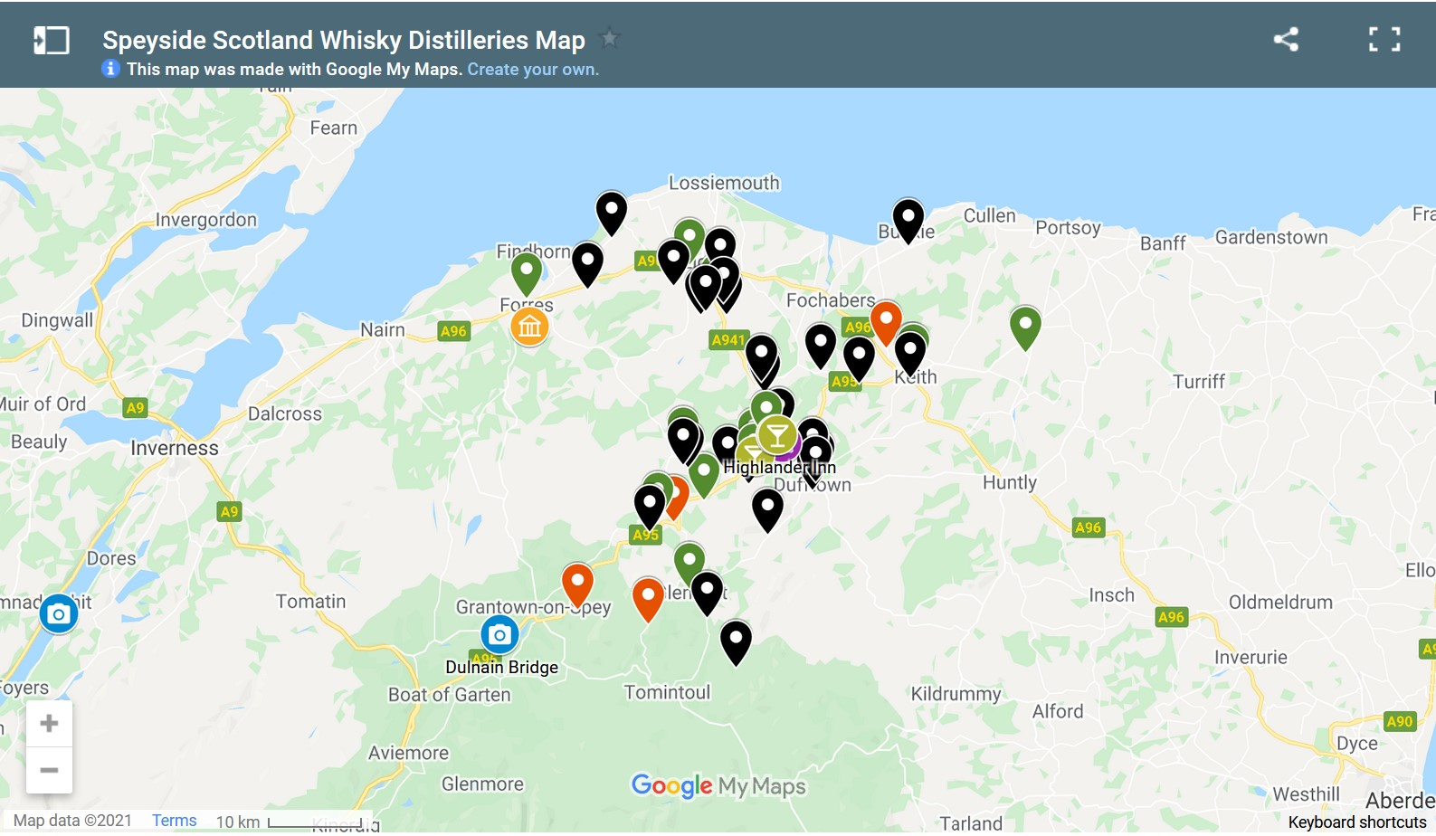 screen shot of interactive google map of speyside whisky distilleries